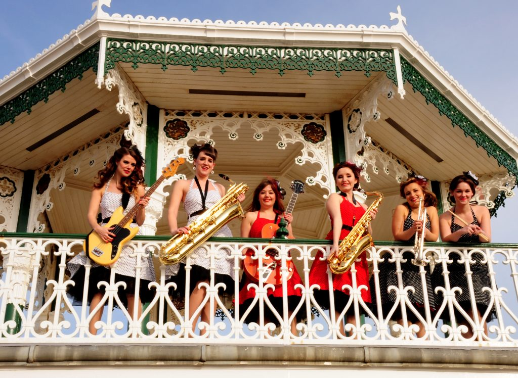 6 Piece band on a Bandstand